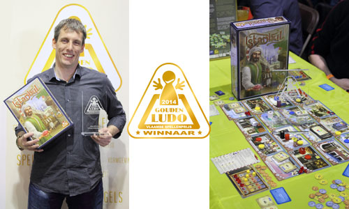 Johan van White Goblin Games met Gouden Ludo winnaar Istanbul
