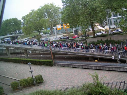 een rij vanaf de metro